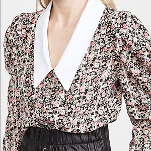 ENGLISH FACTORY Floral Printed V-Neck Blouse